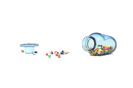 clinical trial: Medicine spilling bottle falls down