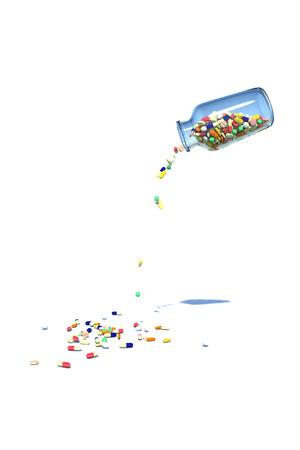 Medicine spilling from the bottle