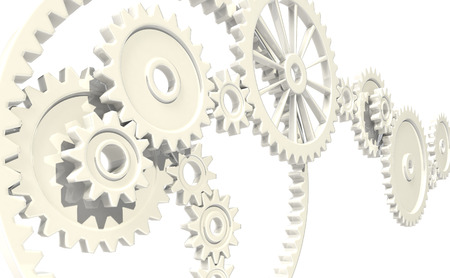 deceleration: White gears Stock Photo