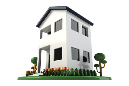 3d cg: Residential two-story Stock Photo