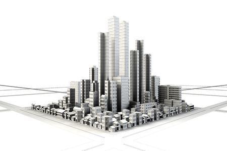 Line drawing of building district