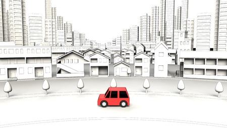 Cars on the street building 写真素材