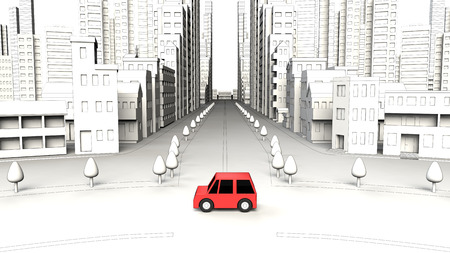 Cars on the street building Stock Photo