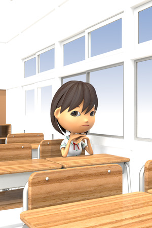 moody: 3D illustrations of girls bad mood in the classroom