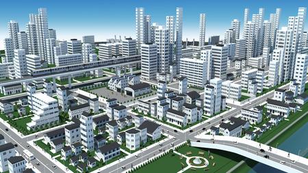 3D-CG image of bird \\ \'s-eye viewing city