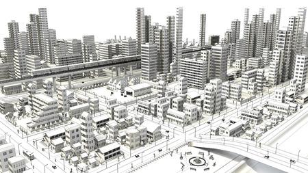 dibujos lineales: Dibujo lineal de ave  's-ojo de ver la ciudad