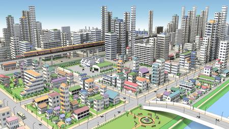 3dcg: 3D-CG image of bird  's-eye viewing city