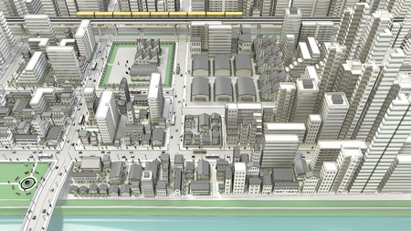 3dcg: 3D-CG of urban bird's eye view