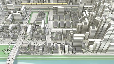 3D-CG of urban bird's eye view
