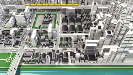 bird s house: 3D-CG of urban bird's eye view