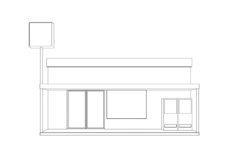 convenience store: Line drawing of Convenience store