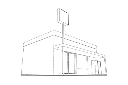 retailing: Line drawing of Convenience store