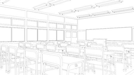 Line drawing of classroom Stockfoto