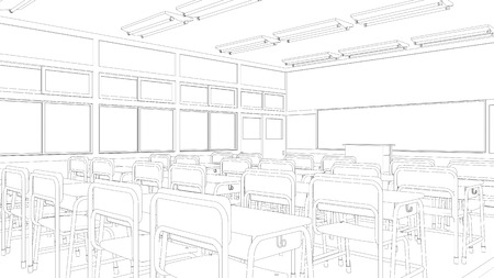 Line drawing of classroom Stock Photo