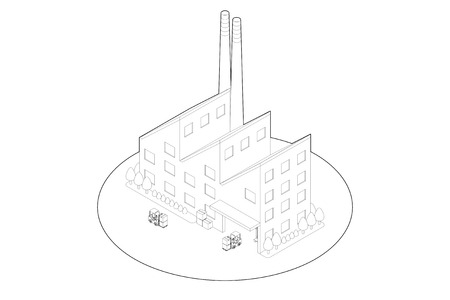 工場のライン描画 写真素材