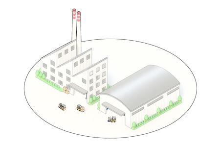 工場・倉庫の等角図