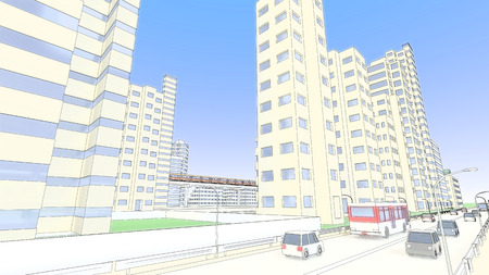 roadway: High-rise buildings and roadway