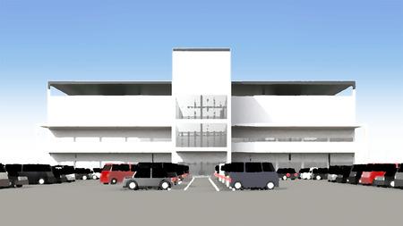広い駐車場とショッピング センター 写真素材 - 40286766