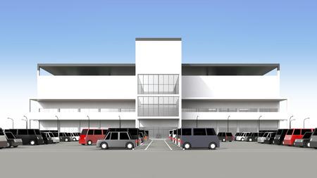 広い駐車場とショッピング センター 写真素材 - 40286707