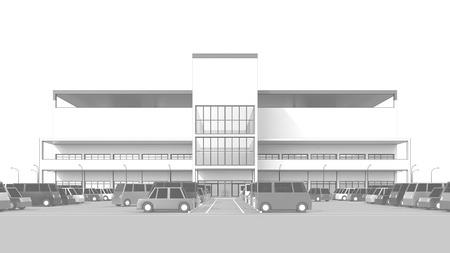 parking facilities: Shopping center with a large parking lot