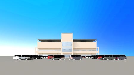 広い駐車場とショッピング センター 写真素材 - 40442268