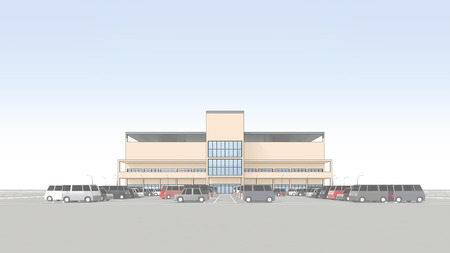 広い駐車場とショッピング センター 写真素材 - 40442269