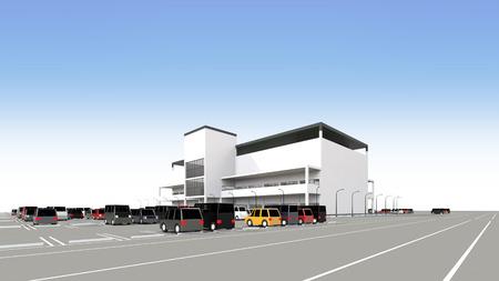 広い駐車場とショッピング モール 写真素材 - 40592808