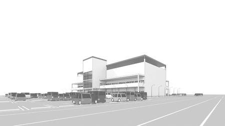 広い駐車場とショッピング モール 写真素材 - 40592811