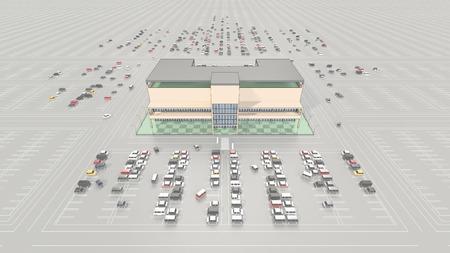 広い駐車場とショッピング モール 写真素材 - 40606234