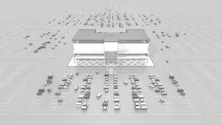 広い駐車場とショッピング モール 写真素材 - 40606236