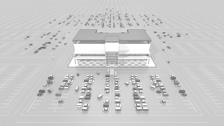 parking facilities: Shopping mall with a large parking lot Stock Photo