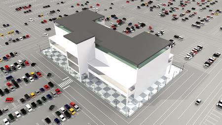広い駐車場とショッピング モール 写真素材 - 40865767