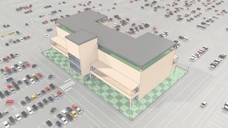広い駐車場とショッピング モール 写真素材 - 40865768
