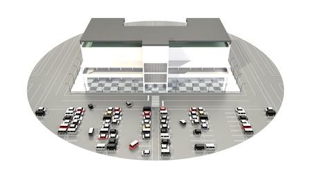 広い駐車場とショッピング モール 写真素材 - 40860367