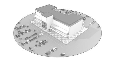 広い駐車場とショッピング モール 写真素材 - 40860374
