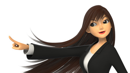 3CG of businesswoman pointing a finger