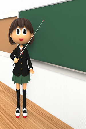 3-d image of a Female student who are described with pointing at the direction stick