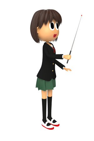 described: 3-d image of a Female student who are described with pointing at the direction stick