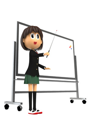 described: 3-d image of Female students that are described in whiteboard