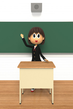 described: 3d image of Female student that are described in blackboard