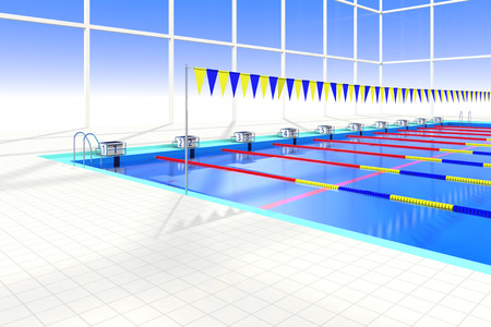 health care facilities: Start stand of swimming pool