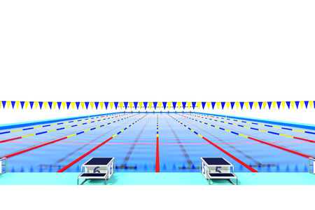 health care facilities: The view from the starting blocks of the 50m swimming pool Stock Photo