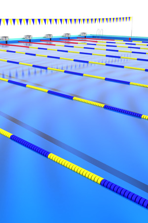 backstroke: Course rope floating in the swimming pool