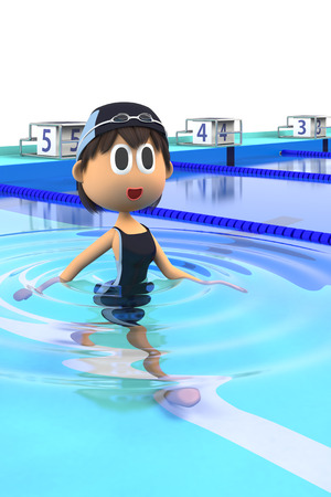 3d swimming pool: Underwater walking Stock Photo