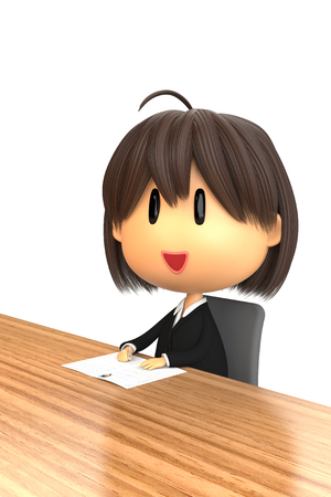 asher: Woman of Recruit suit style is writing a resume