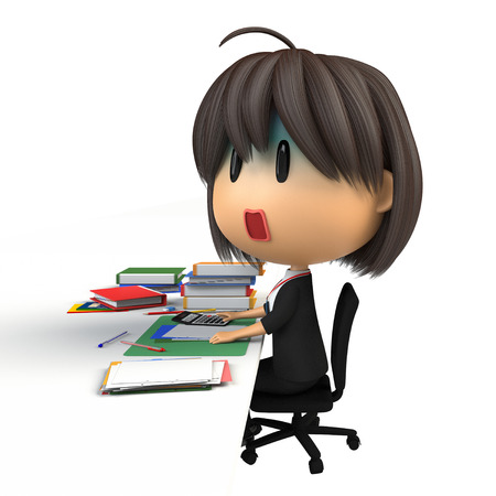 asher: Female staff that pale in desk work Stock Photo