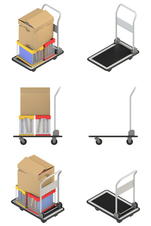 hand truck: Isometric view and a side view of the hand truck