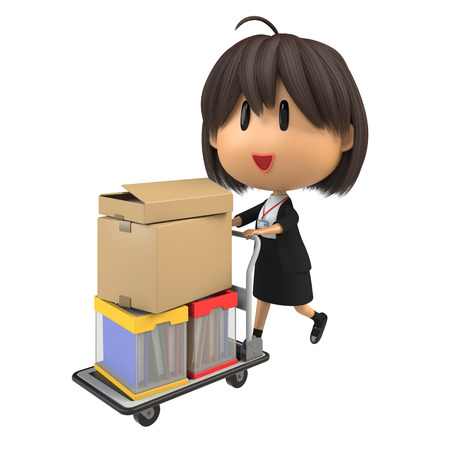 hand truck: Female staff carrying luggage by hand truck Stock Photo