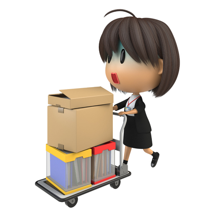 asher: Female staff who looks pale carrying luggage by hand truck