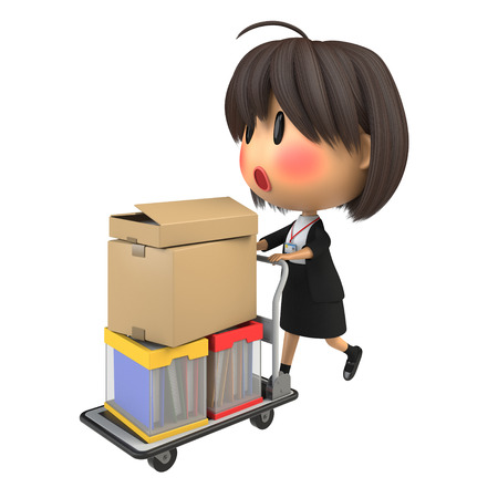 hand truck: Blushing female staff carrying luggage by hand truck Stock Photo